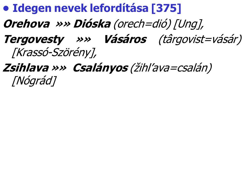 Idegen nevek lefordítása [375] Orehova »» Dióska (orech=dió) [Ung], Tergovesty »» Vásáros (târgovist=vásár) [Krassó-Szörény], Zsihlava »» Csalányos (ž