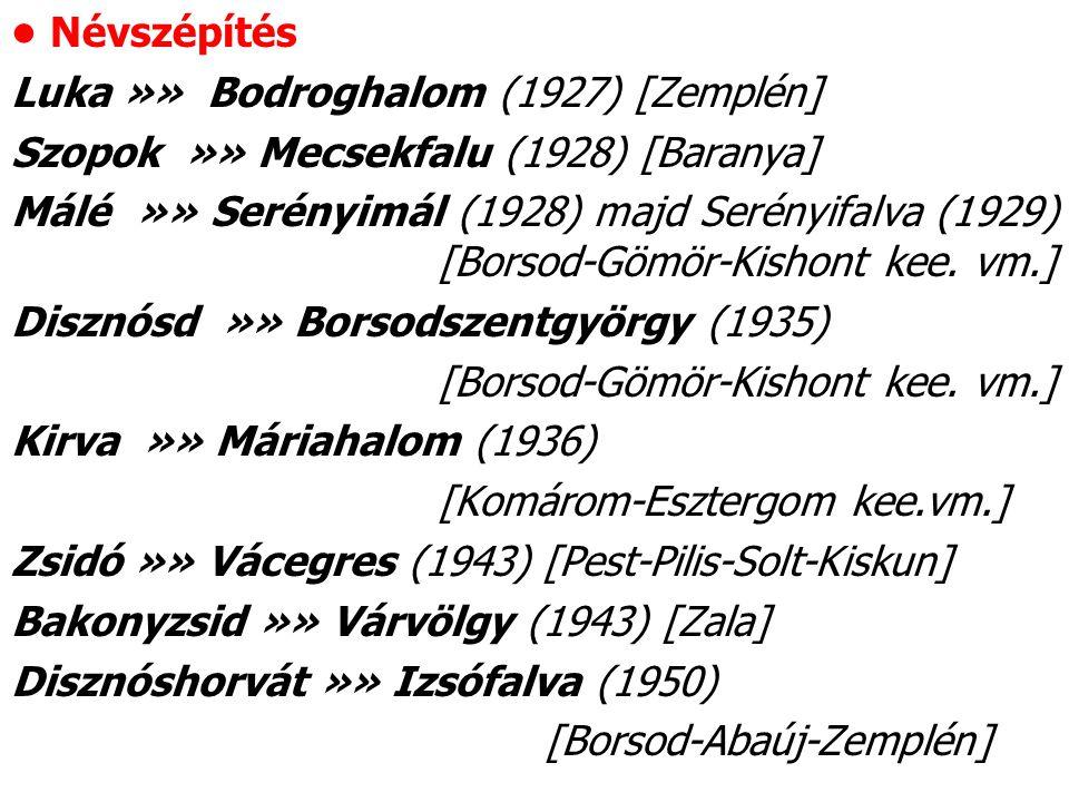 Névszépítés Luka »» Bodroghalom (1927) [Zemplén] Szopok »» Mecsekfalu (1928) [Baranya] Málé »» Serényimál (1928) majd Serényifalva (1929) [Borsod-Gömö