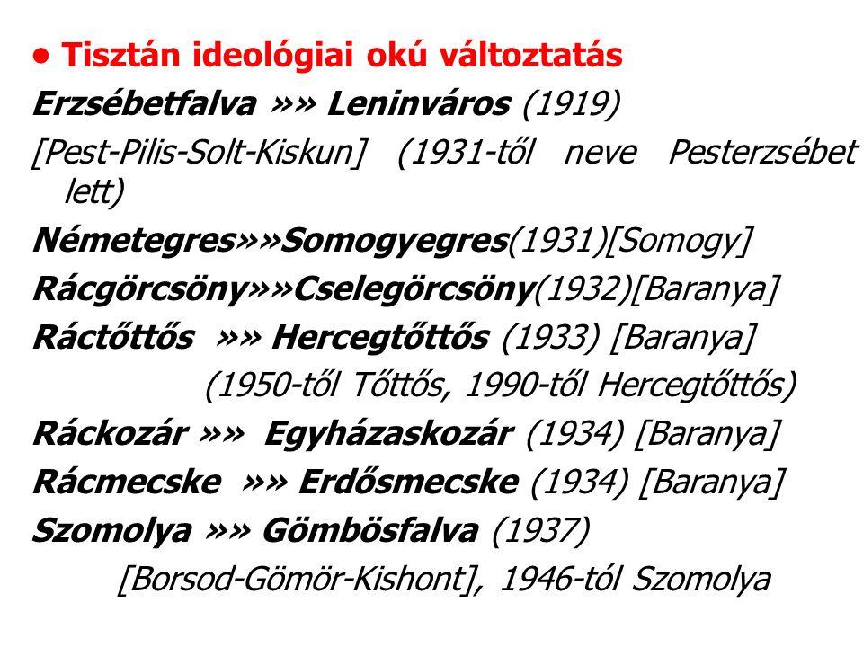 Tisztán ideológiai okú változtatás Erzsébetfalva »» Leninváros (1919) [Pest-Pilis-Solt-Kiskun] (1931-től neve Pesterzsébet lett) Németegres»»Somogyegres(1931)[Somogy] Rácgörcsöny»»Cselegörcsöny(1932)[Baranya] Ráctőttős »» Hercegtőttős (1933) [Baranya] (1950-től Tőttős, 1990-től Hercegtőttős) Ráckozár »» Egyházaskozár (1934) [Baranya] Rácmecske »» Erdősmecske (1934) [Baranya] Szomolya »» Gömbösfalva (1937) [Borsod-Gömör-Kishont], 1946-tól Szomolya