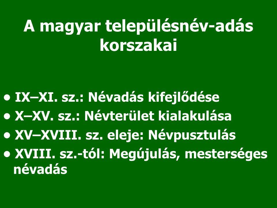 A magyar településnév-adás korszakai IX–XI. sz.: Névadás kifejlődése X–XV. sz.: Névterület kialakulása XV–XVIII. sz. eleje: Névpusztulás XVIII. sz.-tó