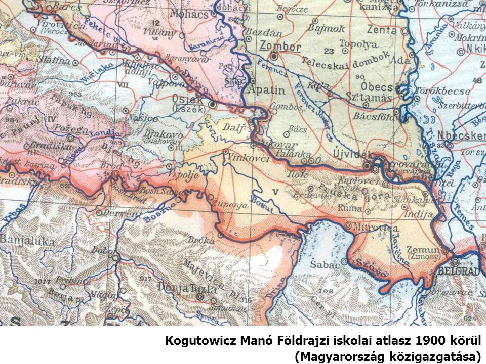 Kogutowicz Manó Földrajzi iskolai atlasz 1900 körül (Magyarország közigazgatása)