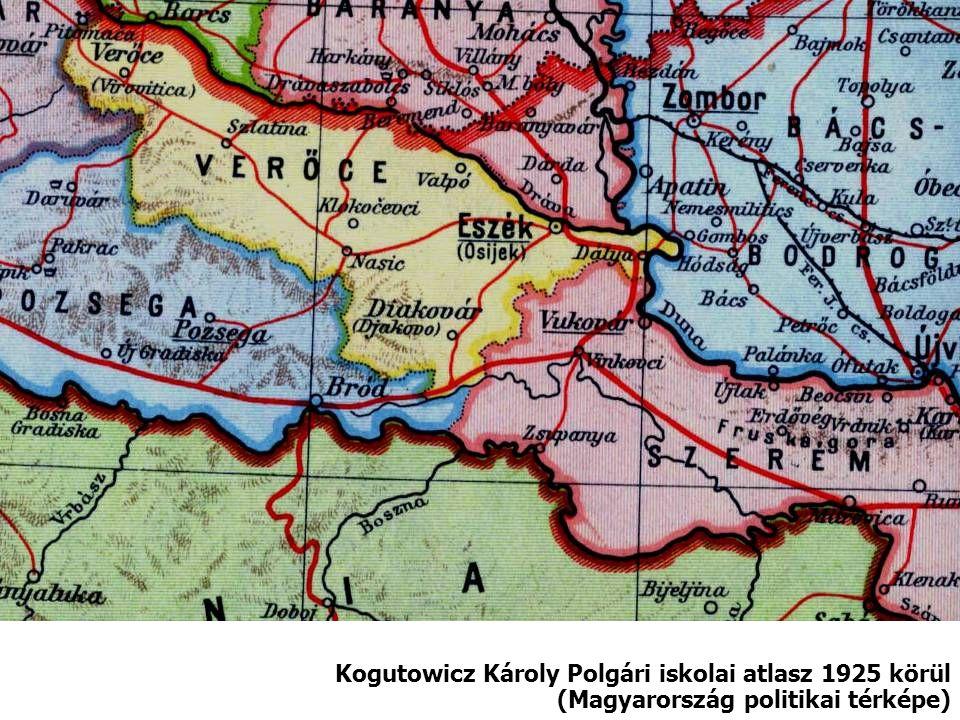 Kogutowicz Károly Polgári iskolai atlasz 1925 körül (Magyarország politikai térképe)