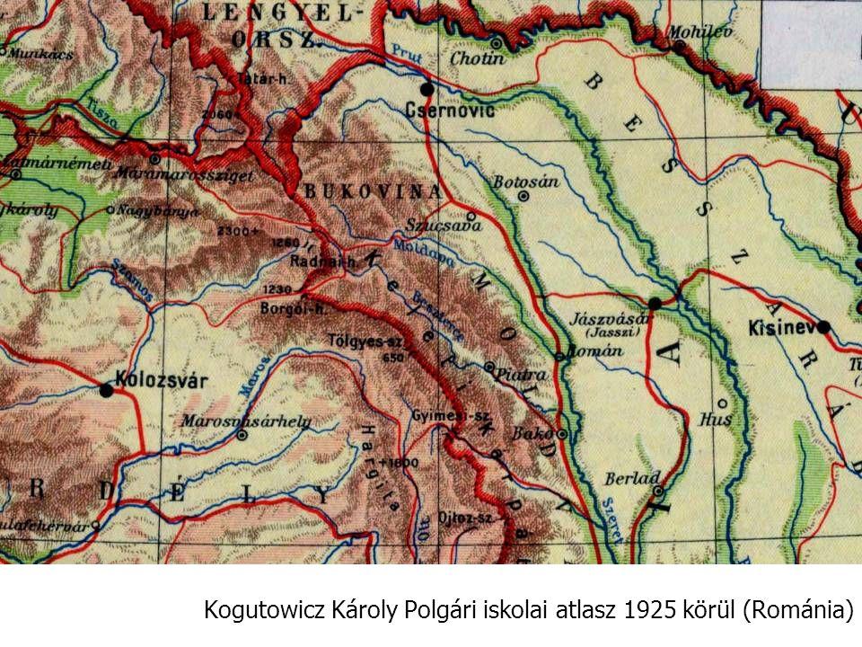 Kogutowicz Károly Polgári iskolai atlasz 1925 körül (Románia)