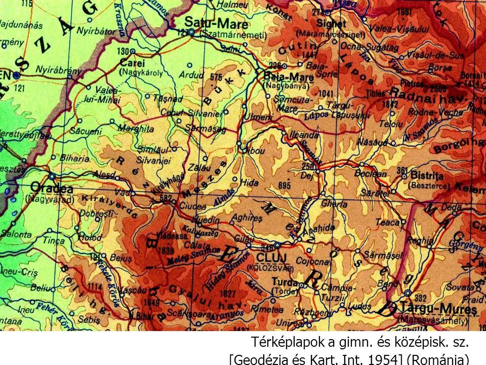 Térképlapok a gimn. és középisk. sz. [Geodézia és Kart. Int. 1954] (Románia)