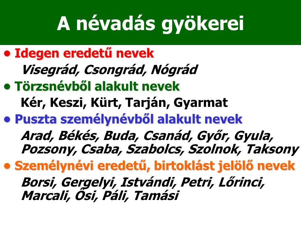 A névadás gyökerei Idegen eredetű nevek Idegen eredetű nevek Visegrád, Csongrád, Nógrád Törzsnévből alakult nevek Törzsnévből alakult nevek Kér, Keszi, Kürt, Tarján, Gyarmat Puszta személynévből alakult nevek Puszta személynévből alakult nevek Arad, Békés, Buda, Csanád, Győr, Gyula, Pozsony, Csaba, Szabolcs, Szolnok, Taksony Személynévi eredetű, birtoklást jelölő nevek Személynévi eredetű, birtoklást jelölő nevek Borsi, Gergelyi, Istvándi, Petri, Lőrinci, Marcali, Ősi, Páli, Tamási
