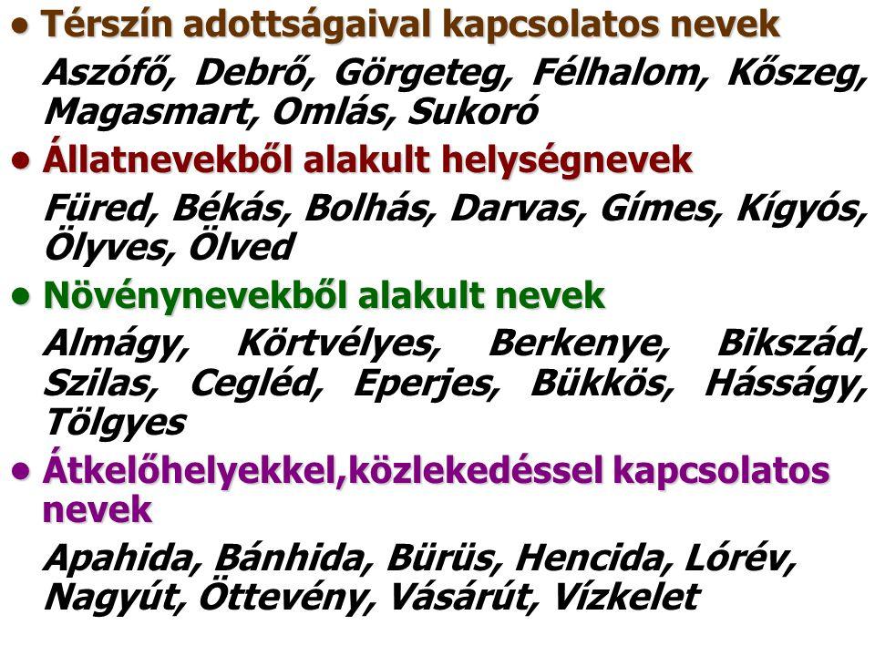 Térszín adottságaival kapcsolatos nevek Térszín adottságaival kapcsolatos nevek Aszófő, Debrő, Görgeteg, Félhalom, Kőszeg, Magasmart, Omlás, Sukoró Ál