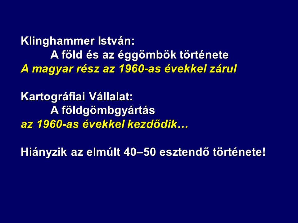 Klinghammer István: A föld és az éggömbök története A magyar rész az 1960-as évekkel zárul Kartográfiai Vállalat: A földgömbgyártás az 1960-as évekkel