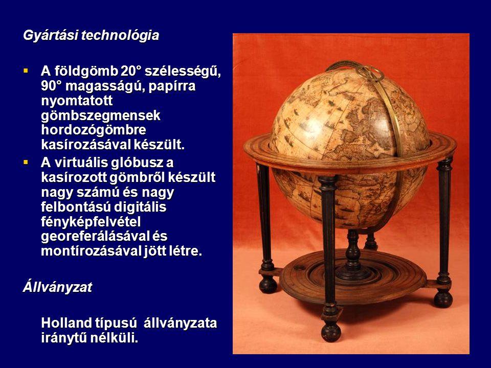 Gyártási technológia  A földgömb 20° szélességű, 90° magasságú, papírra nyomtatott gömbszegmensek hordozógömbre kasírozásával készült.  A virtuális