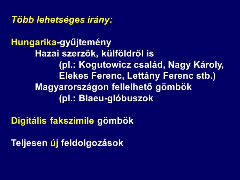 Több lehetséges irány: Hungarika-gyűjtemény Hazai szerzők, külföldről is (pl.: Kogutowicz család, Nagy Károly, Elekes Ferenc, Lettány Ferenc stb.) Mag