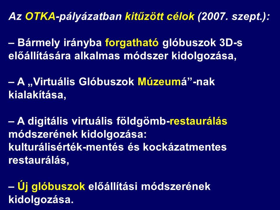 """Az OTKA-pályázatban kitűzött célok (2007. szept.): – Bármely irányba forgatható glóbuszok 3D-s előállítására alkalmas módszer kidolgozása, – A """"Virtuá"""