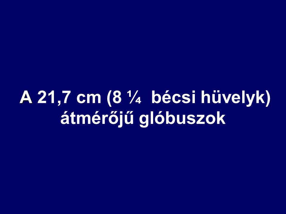 A A 21,7 cm (8 ¼ bécsi hüvelyk) átmérőjű glóbuszok