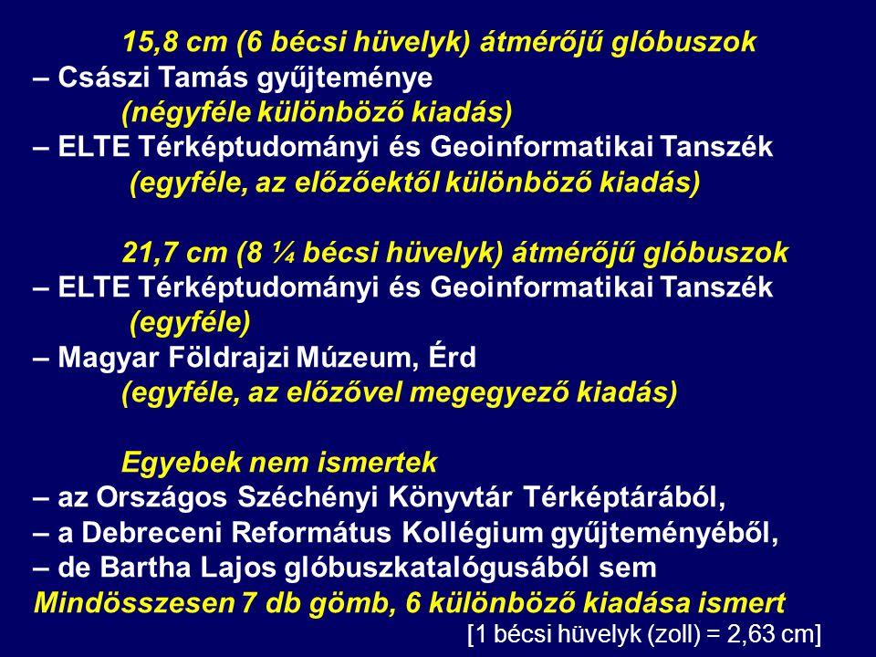 15,8 cm (6 bécsi hüvelyk) átmérőjű glóbuszok – Császi Tamás gyűjteménye (négyféle különböző kiadás) – ELTE Térképtudományi és Geoinformatikai Tanszék