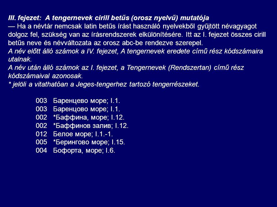 III. fejezet: A tengernevek cirill betűs (orosz nyelvű) mutatója — Ha a névtár nemcsak latin betűs írást használó nyelvekből gyűjtött névagyagot dolgo