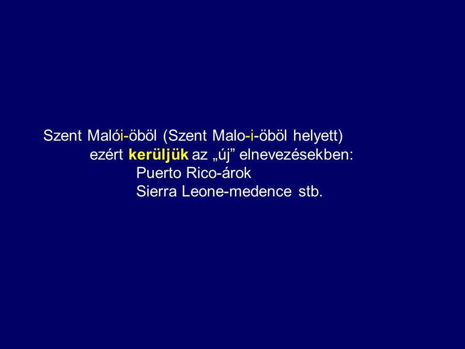 """Szent Malói-öböl (Szent Malo-i-öböl helyett) ezért kerüljük az """"új elnevezésekben: Puerto Rico-árok Sierra Leone-medence stb."""