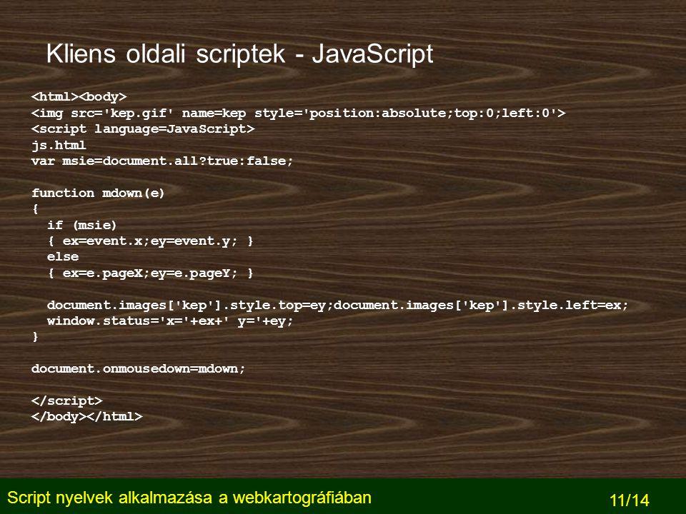 Script nyelvek alkalmazása a webkartográfiában 11/14 Kliens oldali scriptek - JavaScript js.html var msie=document.all?true:false; function mdown(e) { if (msie) { ex=event.x;ey=event.y; } else { ex=e.pageX;ey=e.pageY; } document.images[ kep ].style.top=ey;document.images[ kep ].style.left=ex; window.status= x= +ex+ y= +ey; } document.onmousedown=mdown;