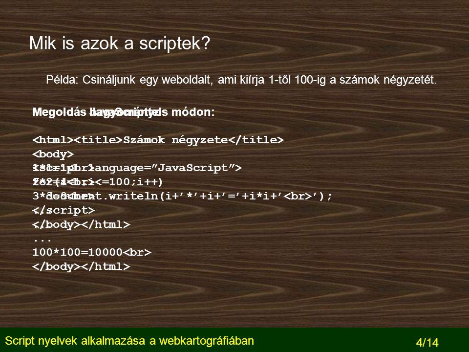 Script nyelvek alkalmazása a webkartográfiában 5/14 Szerver és kliens oldali scriptek Webszerver Felhasználó HTTP kérés Kért HTML oldal, benne a script 1.