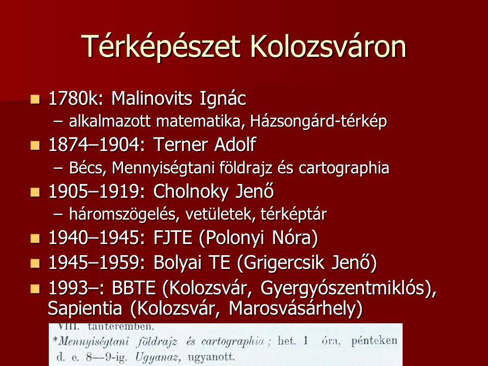 Térképészet Kolozsváron 1780k: Malinovits Ignác 1780k: Malinovits Ignác –alkalmazott matematika, Házsongárd-térkép 1874–1904: Terner Adolf 1874–1904: