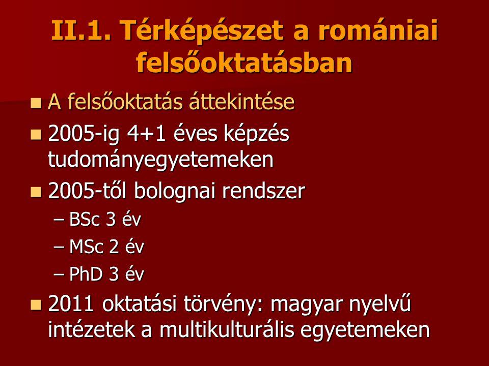 II.1. Térképészet a romániai felsőoktatásban A felsőoktatás áttekintése A felsőoktatás áttekintése 2005-ig 4+1 éves képzés tudományegyetemeken 2005-ig