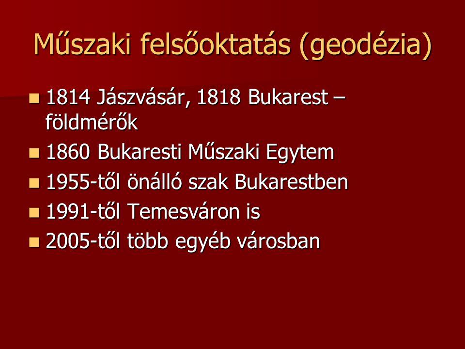 Műszaki felsőoktatás (geodézia) 1814 Jászvásár, 1818 Bukarest – földmérők 1814 Jászvásár, 1818 Bukarest – földmérők 1860 Bukaresti Műszaki Egytem 1860