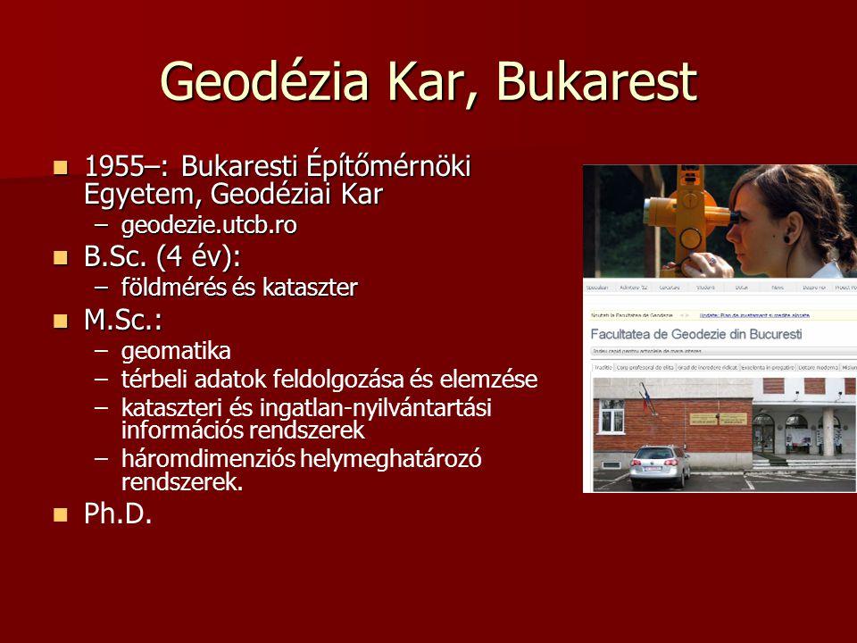 Geodézia Kar, Bukarest 1955–: Bukaresti Építőmérnöki Egyetem, Geodéziai Kar 1955–: Bukaresti Építőmérnöki Egyetem, Geodéziai Kar –geodezie.utcb.ro B.S