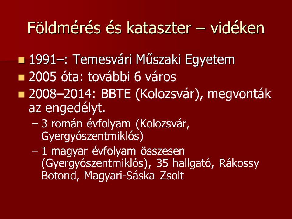 Földmérés és kataszter – vidéken 1991–: Temesvári Műszaki Egyetem 1991–: Temesvári Műszaki Egyetem 2005 óta: további 6 város 2008–2014: BBTE (Kolozsvá