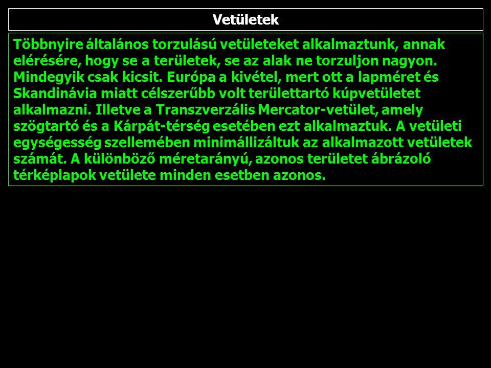 Transzverzális Mercator-vetület: Kárpát-térség és Magyarország kivágatok