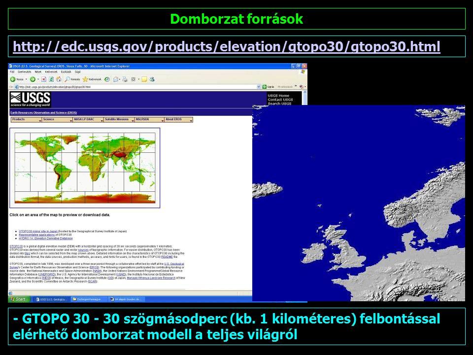 Domborzat források http://www2.jpl.nasa.gov/srtm/ SRTM (Space Radar Topographic Mission) 2000-ben távérzékelt adatok, 90 méteres földi felbontással.