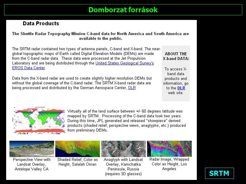 SRTM: letölthető DTM (Digitális domborzat modell)