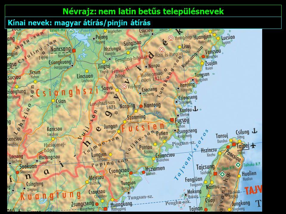 Névrajz: nem latin betűs településnevek Arab nevek: magyar átírás/nemzetközi arab átírás