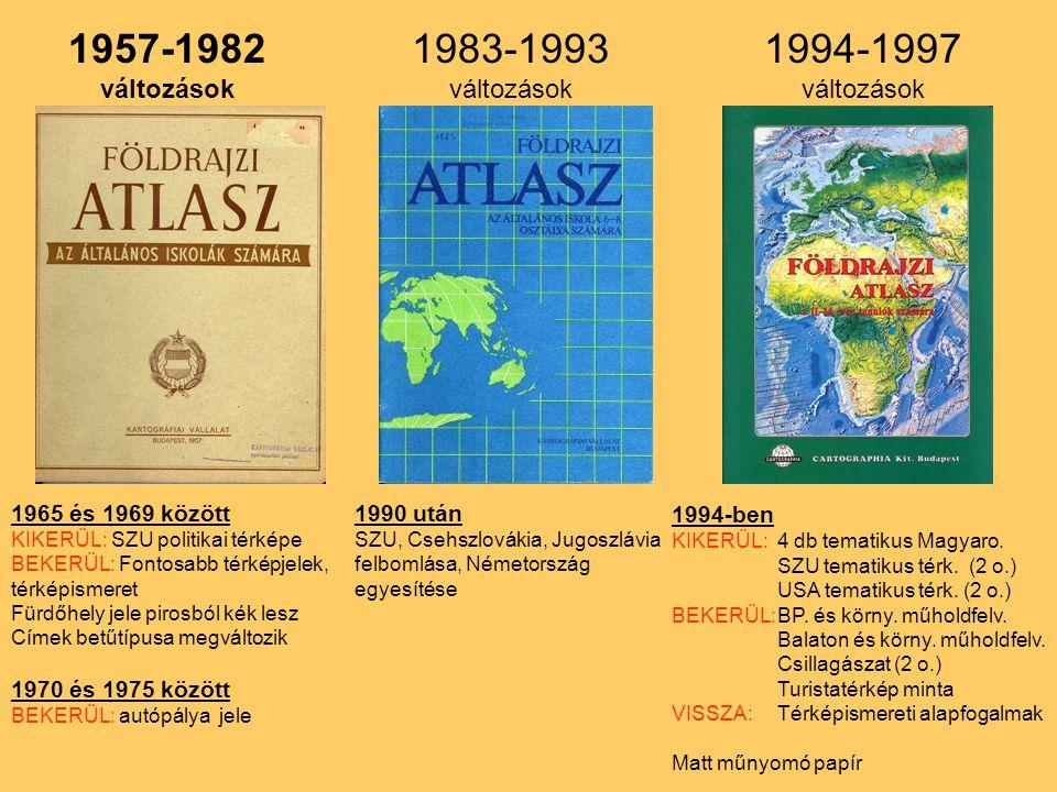 1957-1982 változások 1965 és 1969 között KIKERÜL: SZU politikai térképe BEKERÜL: Fontosabb térképjelek, térképismeret Fürdőhely jele pirosból kék lesz