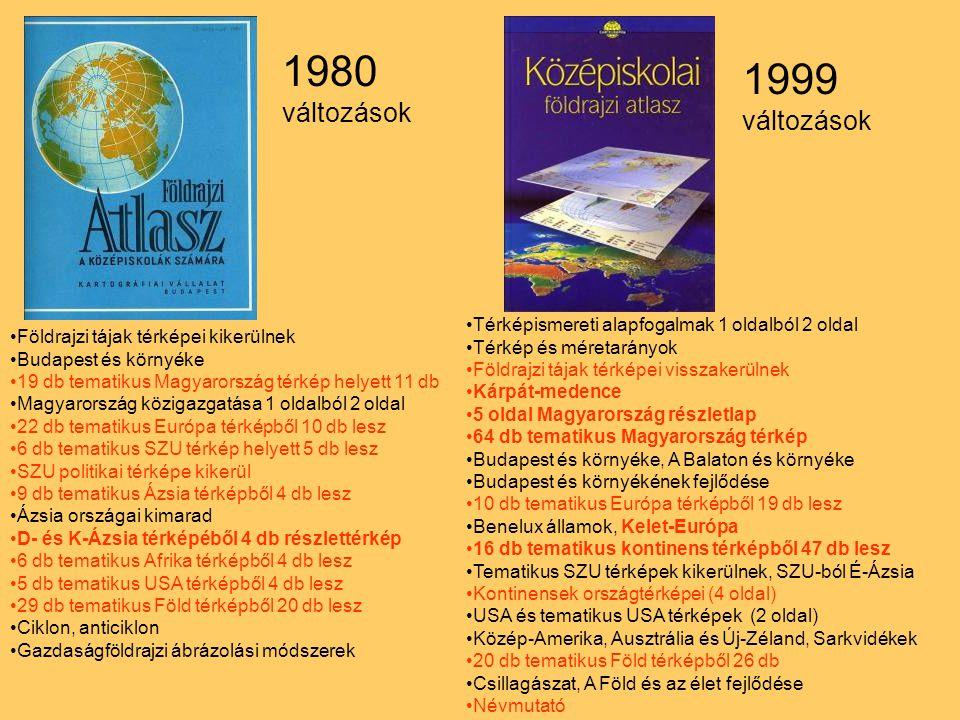 1980 változások 1999 változások Térképismereti alapfogalmak 1 oldalból 2 oldal Térkép és méretarányok Földrajzi tájak térképei visszakerülnek Kárpát-m