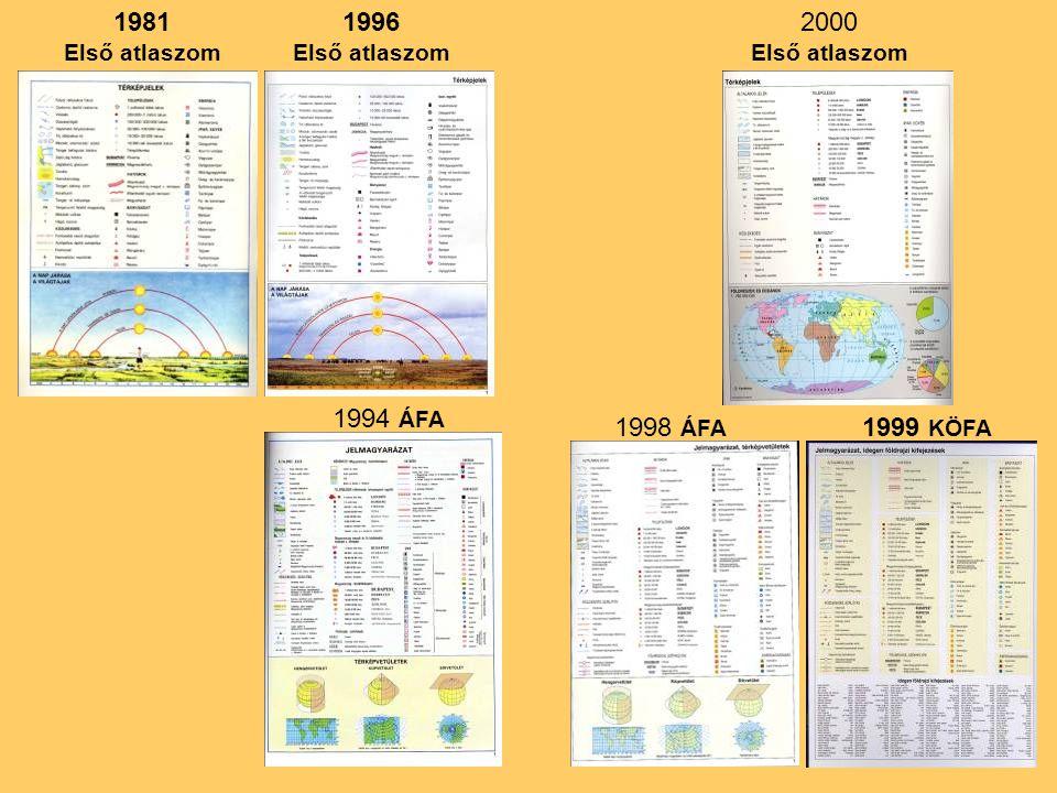 1996 Első atlaszom 1998 ÁFA 1981 Első atlaszom 1999 KÖFA 1994 ÁFA 2000 Első atlaszom