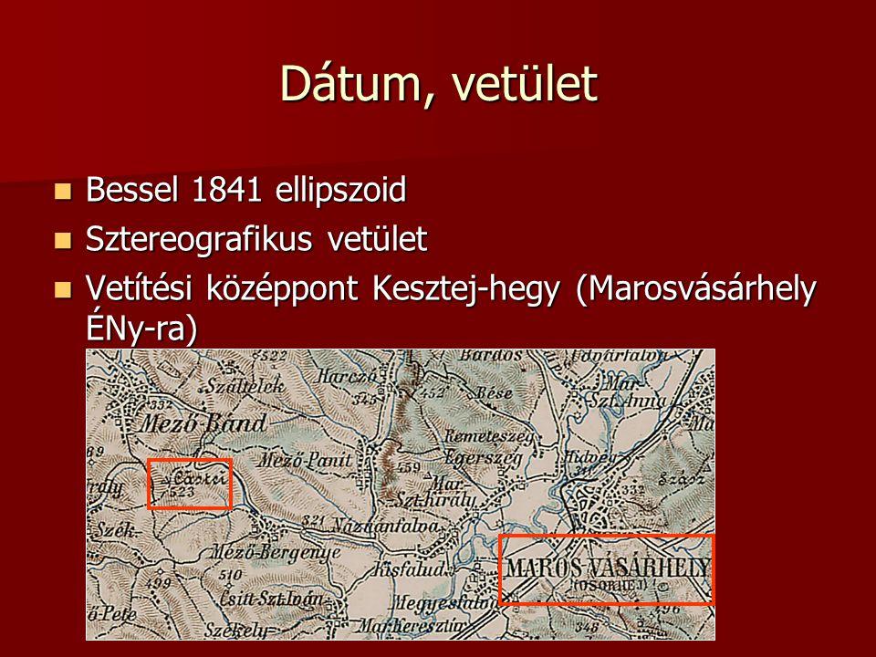 Dátum, vetület Bessel 1841 ellipszoid Bessel 1841 ellipszoid Sztereografikus vetület Sztereografikus vetület Vetítési középpont Kesztej-hegy (Marosvásárhely ÉNy-ra) Vetítési középpont Kesztej-hegy (Marosvásárhely ÉNy-ra)