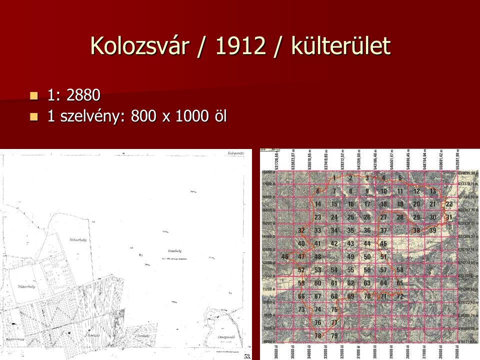 Kolozsvár / 1912 / külterület 1: 2880 1: 2880 1 szelvény: 800 x 1000 öl 1 szelvény: 800 x 1000 öl
