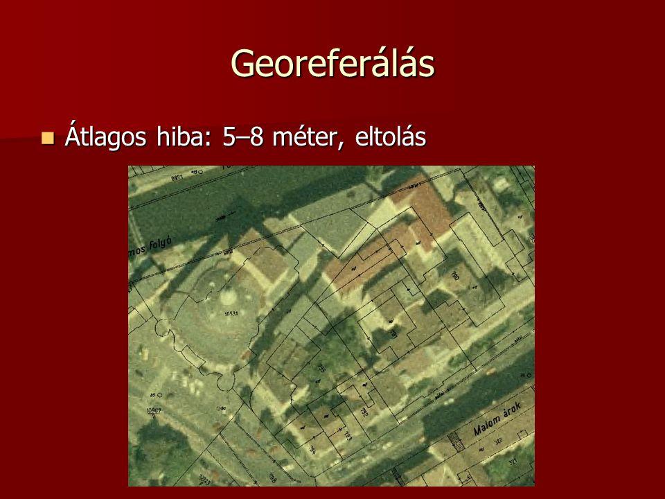 Georeferálás Átlagos hiba: 5–8 méter, eltolás Átlagos hiba: 5–8 méter, eltolás