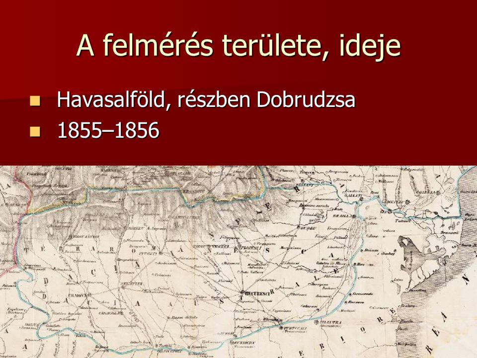 A felmérés területe, ideje Havasalföld, részben Dobrudzsa Havasalföld, részben Dobrudzsa 1855–1856 1855–1856