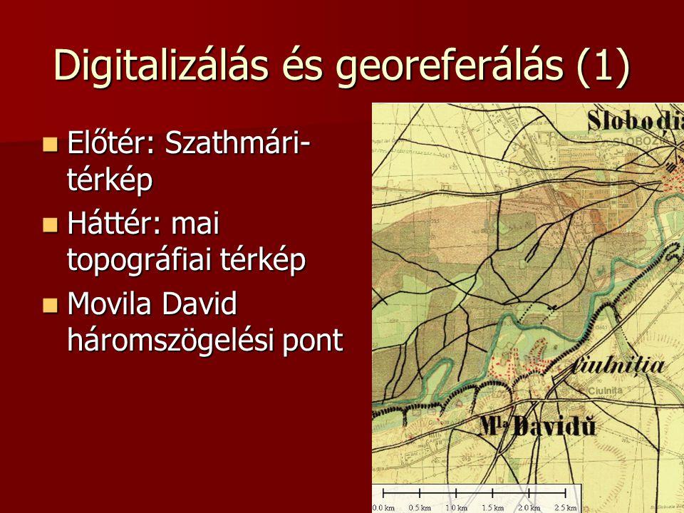 Digitalizálás és georeferálás (1) Előtér: Szathmári- térkép Előtér: Szathmári- térkép Háttér: mai topográfiai térkép Háttér: mai topográfiai térkép Movila David háromszögelési pont Movila David háromszögelési pont