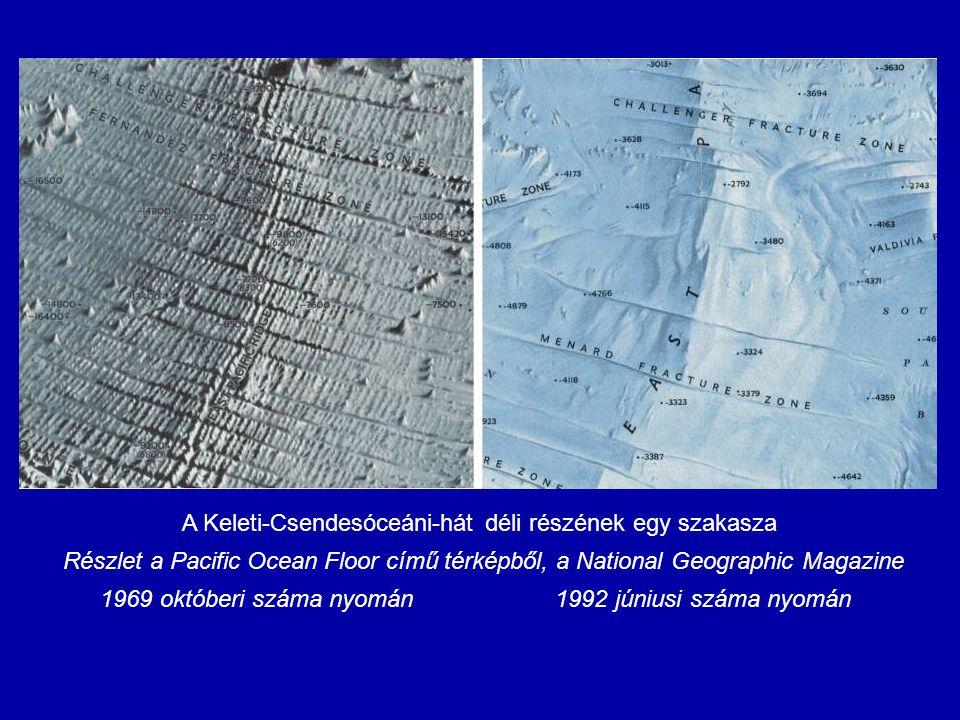 A Keleti-Csendesóceáni-hát déli részének egy szakasza Részlet a Pacific Ocean Floor című térképből, a National Geographic Magazine 1969 októberi száma
