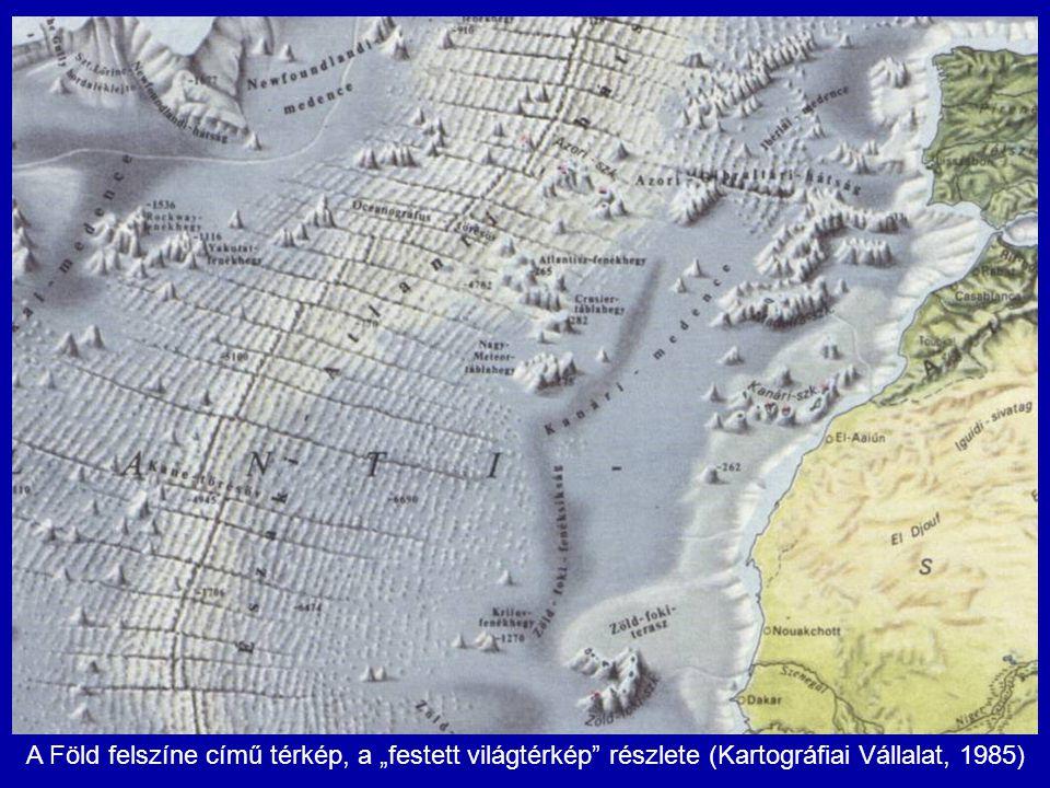 """A Föld felszíne című térkép, a """"festett világtérkép"""" részlete (Kartográfiai Vállalat, 1985)"""