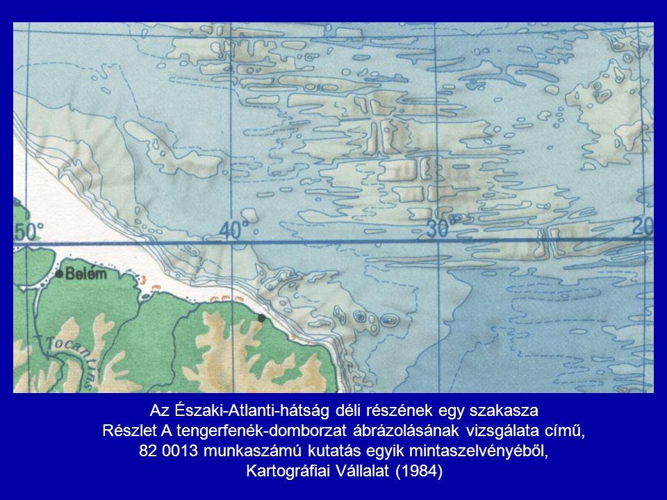 Az Északi-Atlanti-hátság déli részének egy szakasza Részlet A tengerfenék-domborzat ábrázolásának vizsgálata című, 82 0013 munkaszámú kutatás egyik mi