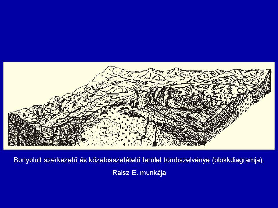 Bonyolult szerkezetű és kőzetösszetételű terület tömbszelvénye (blokkdiagramja). Raisz E. munkája