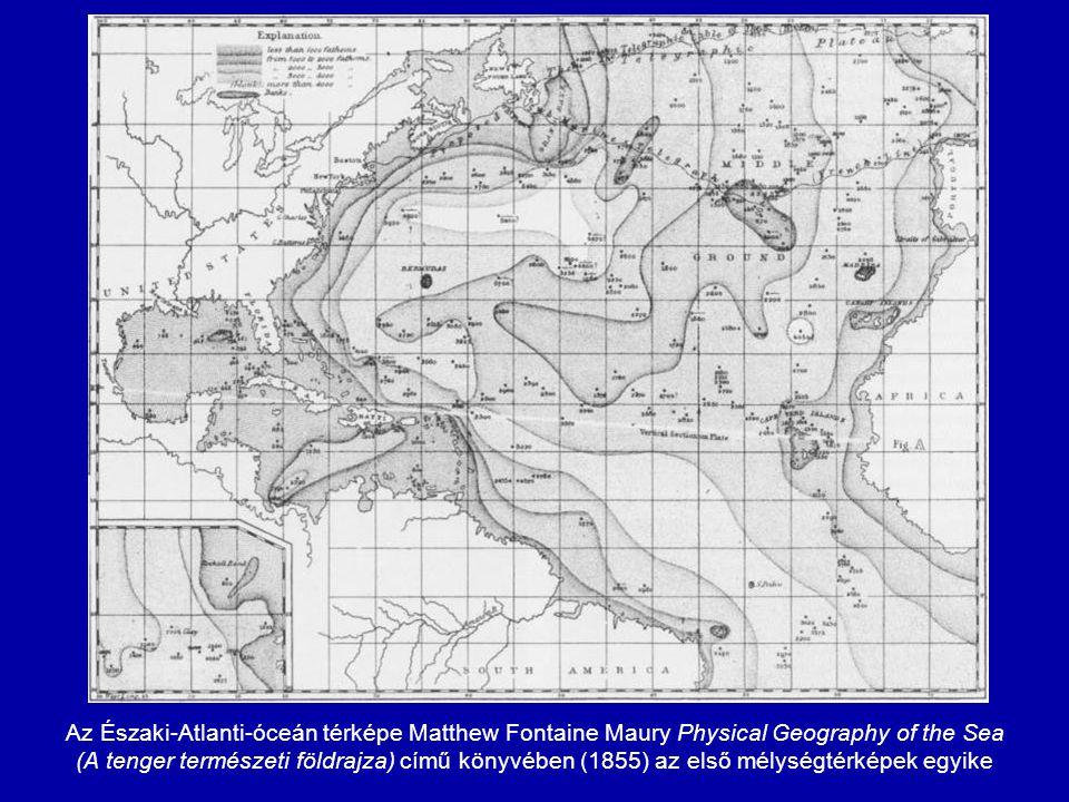 """Matthew Fontaine Maury """"drámai metszete az Északi-Atlanti-óceánon át jól mutatja a tengerfenék-domborzat változatosságát (Szabó József 1883-ban megjelent Geologia című könyvéből)"""