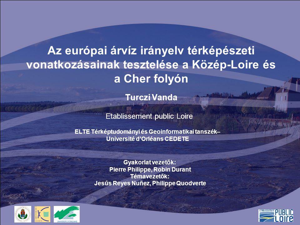 2 ÁTTEKINTÉS 1.Körülmények –Gyakorlat tárgya, célja, befogadó intézmény (EP Loire) 2.Árvíz irányelv (ÁI) –Bemutatása, követelményei, térképi vonatkozásai 3.Európai és francia árvíztérképek 4.Előzetes árvízkockázati értékelések –Vízgyűjtő kerületek térképe –Múltban bekövetkezett árvizek leírása –Jövőbeni árvizek káros hatásainak értékelése 5.Összegzés, további célok