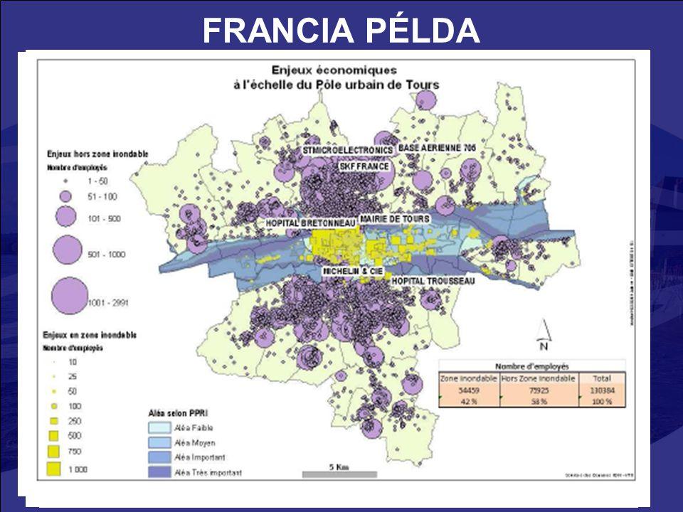 10 FRANCIA PÉLDA Université de Tours, CEPRI (Centre Européen de Prévention du Risque d'Inondation) : társadalmi-gazdasági károk a Loire medencében