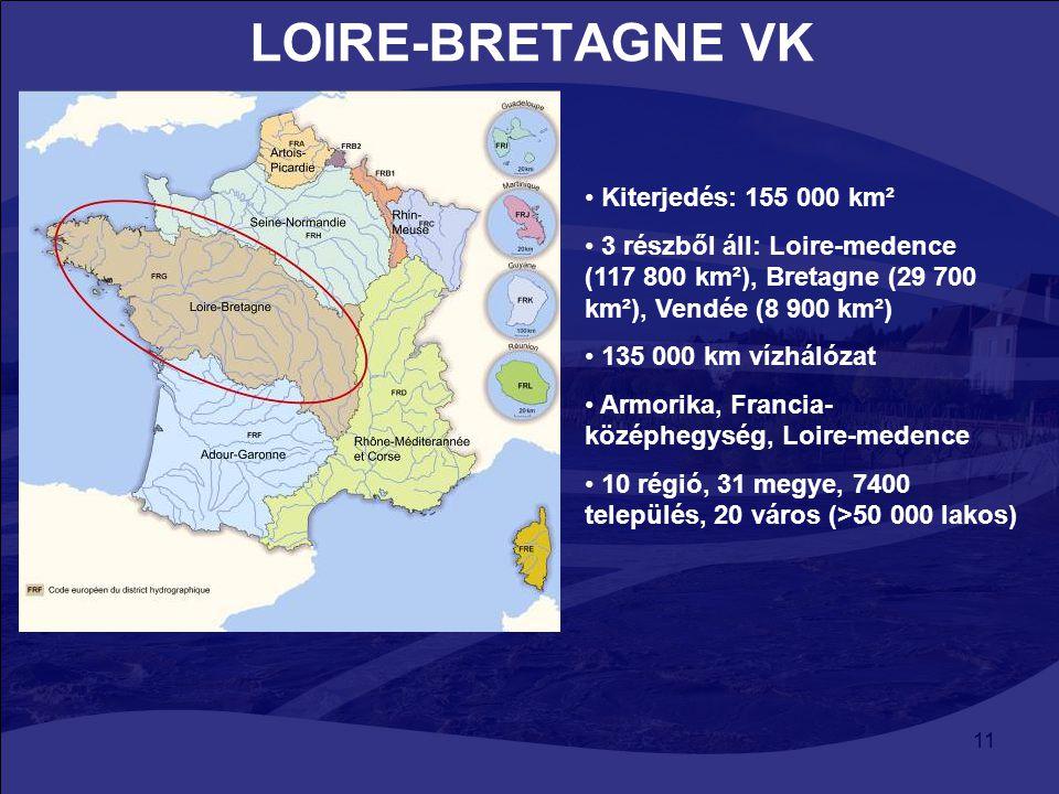 11 LOIRE-BRETAGNE VK Kiterjedés: 155 000 km² 3 részből áll: Loire-medence (117 800 km²), Bretagne (29 700 km²), Vendée (8 900 km²) 135 000 km vízhálóz