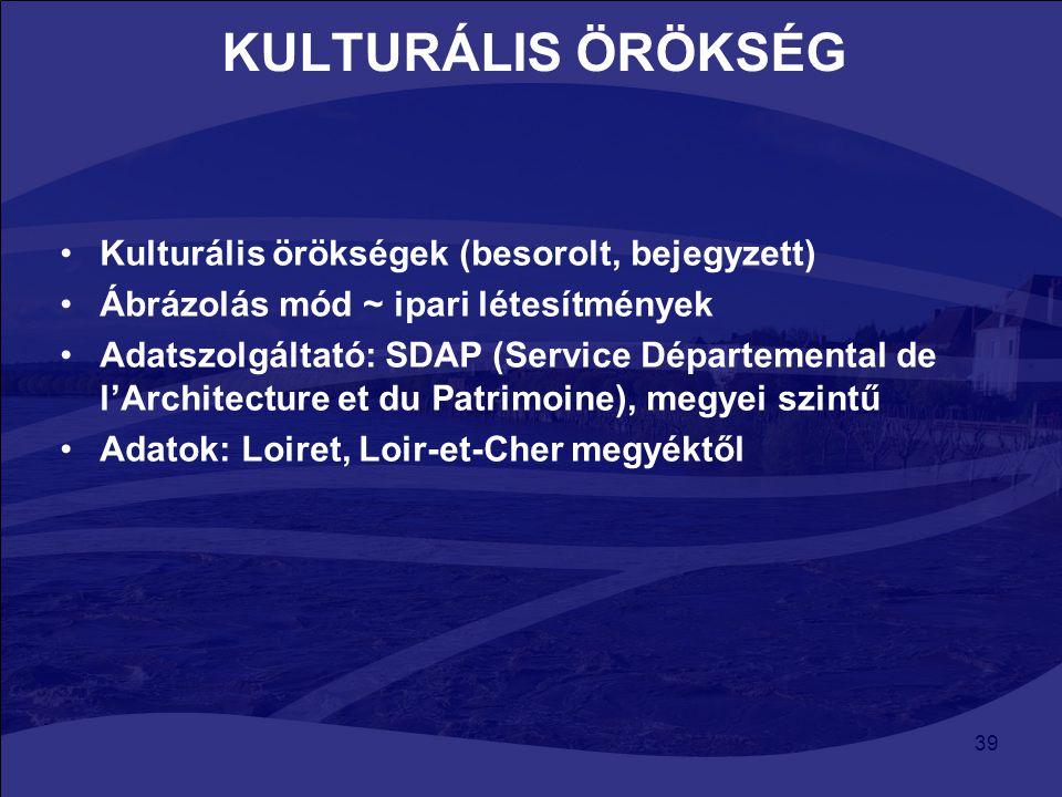 39 KULTURÁLIS ÖRÖKSÉG Kulturális örökségek (besorolt, bejegyzett) Ábrázolás mód ~ ipari létesítmények Adatszolgáltató: SDAP (Service Départemental de