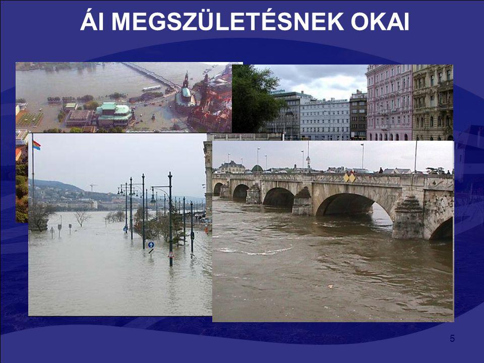 5 ÁI MEGSZÜLETÉSNEK OKAI Víz keretirányelv (VKI) : árvizek hatásainak enyhítése DE nem említi az árvíz kockázat csökkentését, éghajlatváltozás árvíz k