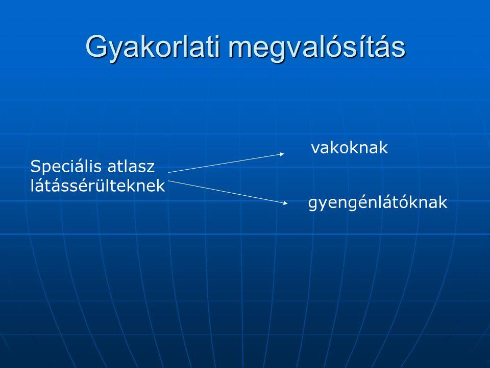 Gyakorlati megvalósítás Speciális atlasz látássérülteknek vakoknak gyengénlátóknak