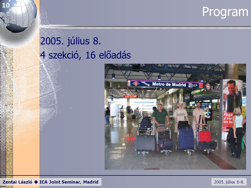 2005. július 6-8. Zentai László  ICA Joint Seminar, Madrid 10 Program 2005. július 8. 4 szekció, 16 előadás