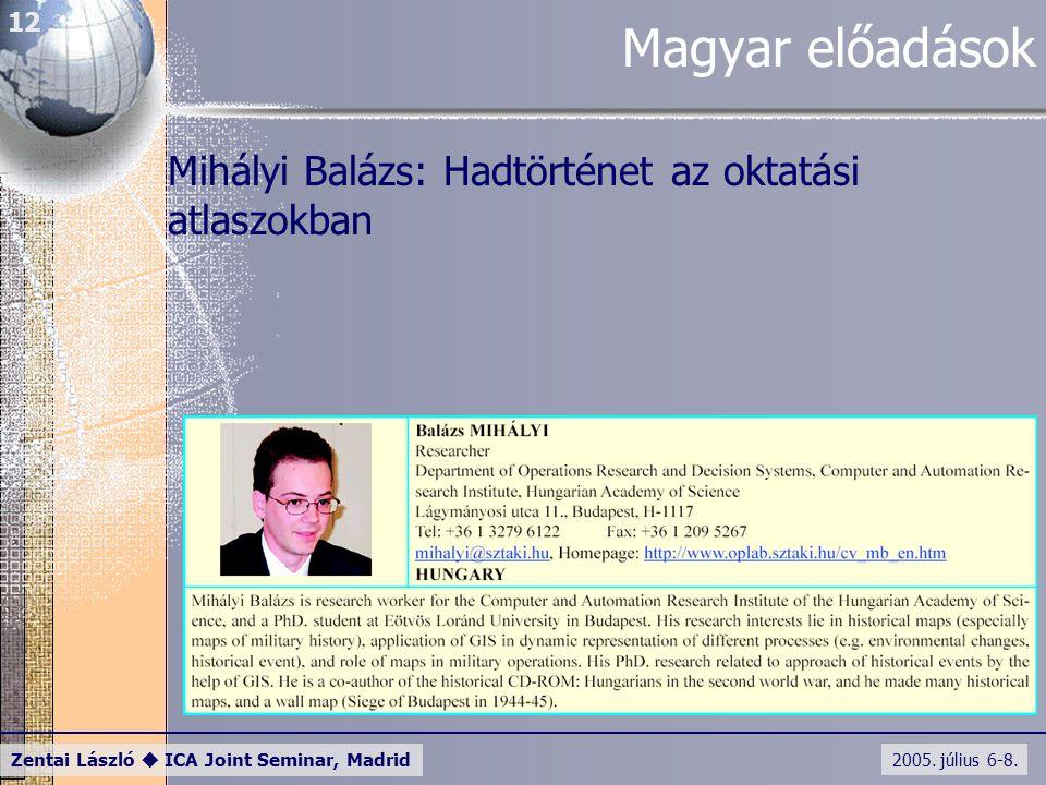2005. július 6-8. Zentai László  ICA Joint Seminar, Madrid 12 Magyar előadások Mihályi Balázs: Hadtörténet az oktatási atlaszokban